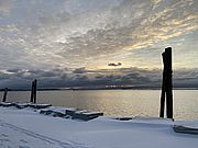 Winter sunrise at Perkins Pier in Burlington, Vermont.