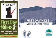 Collage of two graphics advertising First Day Hikes from NY Parks and Rec and VT Parks and Rec.