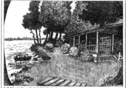 "Built on the Chazy shore in 1913 by George and Eliza Hubbell, the ""Big House"" is the largest Adirondack style ""shed"" in New York. Graphic from Pete and Jane Hubbell."