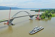 A post-Irene photo of the new bridge arch in place. Photo by Lars Gange and MansfieldHeliflight.